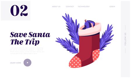 Merry Christmas Happy New Year Website Landing Page. Tiny Male Character in Santa Claus Hat Sitting inside of Huge Xmas Sock for Gifts. Festive Season Web Page Banner. Cartoon Flat Vector Illustration