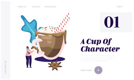 Hot Drink for Autumn or Winter Cold Season Website Landing Page. Woman Hold Marshmallows Piece Stand at Huge Cup with Hot Chocolate or Cocoa Beverage Web Page Banner. Cartoon Flat Vector Illustration