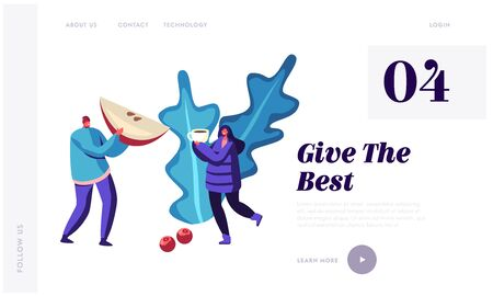 Hot Drinks Concept for Website Landing Page. Cute Male and Female Characters Wearing Warm Clothes Holding Mug with Hot Beverage and Piece of Apple Web Page Banner. Cartoon Flat Vector Illustration