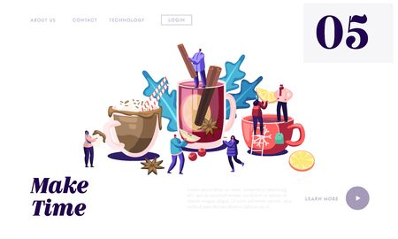 People Drinking Hot Drinks Website Landing Page. Male Female Characters Drinking Different Beverages in Cold Autumn or Winter Time. Tea Cups and Spices Web Page Banner Cartoon Flat Vector Illustration Иллюстрация