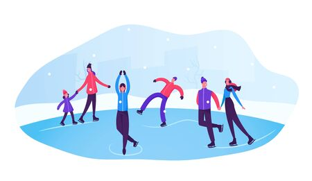 Happy People Wearing Warm Clothes Skating on Frozen Pond. Skaters on Ice Rink Engaged Winter Activities and Sports. Winter Holidays Festive Season, Family Spare Time. Cartoon Flat Vector Illustration