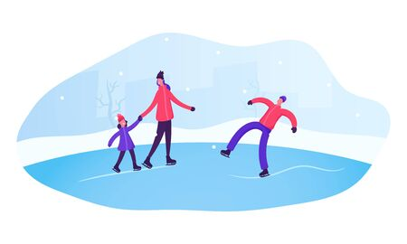 People Skating on Open Air Rink in Winter Time. Happy Family of Mother Father and Little Daughter Spend Time Together in Park Having Fun and Outdoor Skating Activity Cartoon Flat Vector Illustration