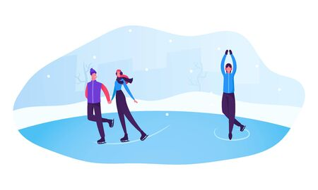 Happy People at Park Performing Leisure Outdoor Activities. Male and Female Characters Figure Skating on Frozen Pond at Winter Day. Christmas Holidays Spare Time. Cartoon Flat Vector Illustration Çizim