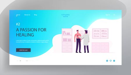 Medicine Doctor Appointment, Health Check Up Website Landing Page. Practitioner with Stethoscope Listening Patient Heart Beating in Therapist Office Web Page Banner. Cartoon Flat Vector Illustration