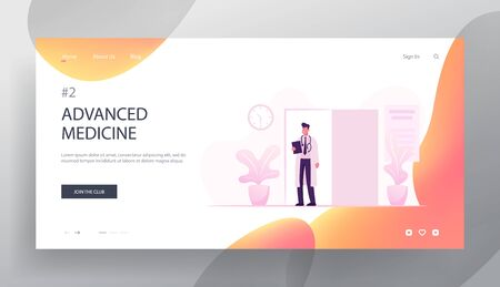 Health and Medicine Website Landing Page. Young Doctor in White Robe and Stethoscope on Neck Stand at Cabinet Door Invite Next Patient for Appointment Web Page Banner. Cartoon Flat Vector Illustration