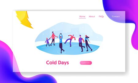Winter Activities and Sports Website Landing Page. Happy People Skating on Frozen Pond. Skaters on Ice Rink. Winter Holidays Festive Season Spare Time Web Page Banner. Cartoon Flat Vector Illustration Ilustração