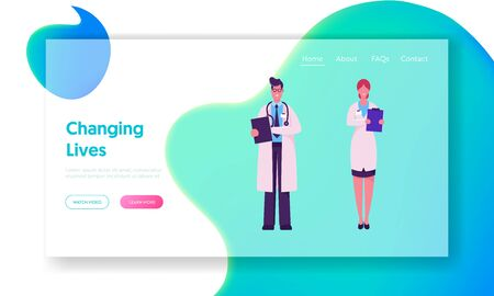 Clinic Medicine Profession Website Landing Page. Hospital Healthcare Staff at Work. Male Doctor in Medical Robe Speaking with Nurse Holding Notebook Web Page Banner. Cartoon Flat Vector Illustration Иллюстрация