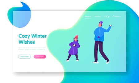 Christmas and New Year Holidays Website Landing Page. Winter Season Outdoor Leisure and Activities. Happy Family Father and Daughter Playing Snowballs Web Page Banner. Cartoon Flat Vector Illustration Standard-Bild - 129986652