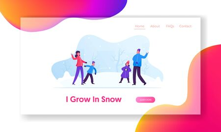 Winter Season Fun and Games Website Landing Page. Happy Family of Parents and Kids Playing Snowball Fight on Street. Holidays Spare Time, Leisure Web Page Banner. Cartoon Flat Vector Illustration