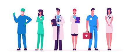 Set di personale sanitario ospedaliero, medici in veste medica con lo stetoscopio che tiene il taccuino, carattere del chirurgo in uniforme, clinica dell'infermiera, medicina professione occupazione fumetto piatto vettoriale illustrazione Vettoriali