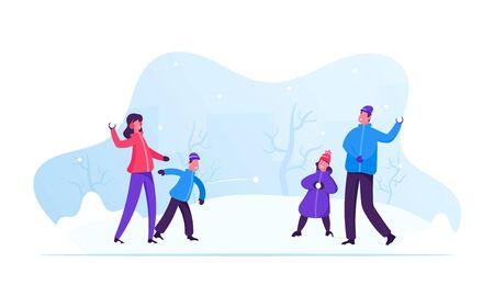 Giovane famiglia felice di genitori e bambini che giocano a palle di neve e si divertono sulla neve in una giornata invernale. Madre allegra e padre che giocano a palle di neve con i loro figli. Cartoon piatto illustrazione vettoriale
