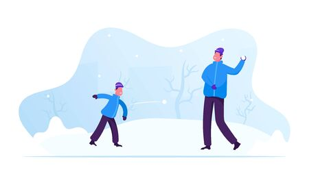 Winter Season Outdoors Leisure and Activities. Happy Family Young Father and Little Son Playing Snowballs on Street. People Have Fun Christmas and New Year Holidays. Cartoon Flat Vector Illustration Ilustracja
