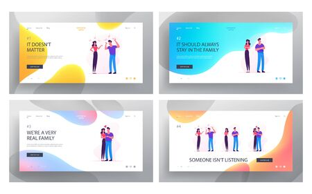 Family Relations Website Landing Page Set. Young Couple Man and Woman Fight and Reconciliation. Disagreement Scandal and Love between Husband and Wife Web Page Banner. Cartoon Flat Vector Illustration 向量圖像