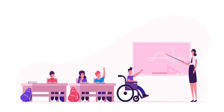 Back to School Concept with Children and Teacher. Young Woman and Disabled Boy in Wheelchair near Blackboard in Classroom. Kids in Class Lesson. Disability, Education Cartoon Flat Vector Illustration