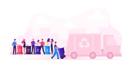 Men and Women Throw Bags to Recycling Containers for Litter Separation. Garbage Man Loading Wastes to Truck for Reduce Environment Pollution. City Recycle Service. Cartoon Flat Vector Illustration