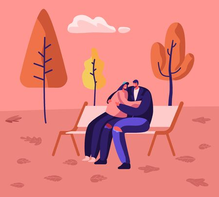 Romantic Relations, Fall Day Promenade Together. Loving Happy Couple Cuddling, Holding Hands Sitting on Bench in City Park in Autumn Weather. Love Man Woman Dating. Cartoon Flat Vector Illustration