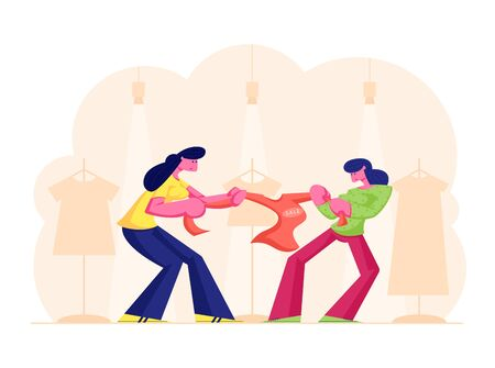 Two Greedy Girls Fighting for Red Jacket in Department Store. Sale Fight Concept with Female Customers Pull Thing in Different Directions on Total Discount in Shop. Cartoon Flat Vector Illustration