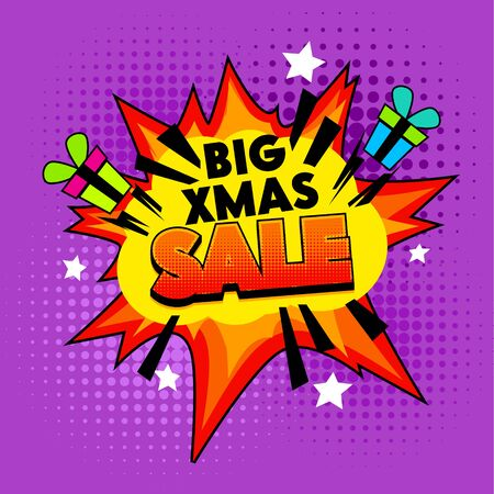 Big Xmas Sale Banner on Colorful Half Tone Dotted Background. Explosion and Gift Boxes, Winter Season Shopping Offer. Vintage Cartoon Pop Art Vector Illustration in Retro Hand Drawn Comic Book Style Иллюстрация