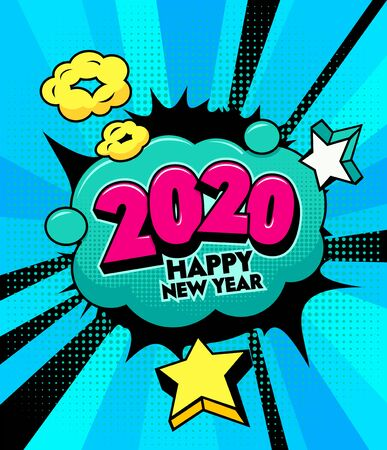 2020 Happy New Year Banner with Comic and Expression Speech Bubble with Typography. Vector Bright Dynamic Cartoon Illustration in Hand Drawn Retro Comic Book Pop Art Style on Halftone Background Illustration