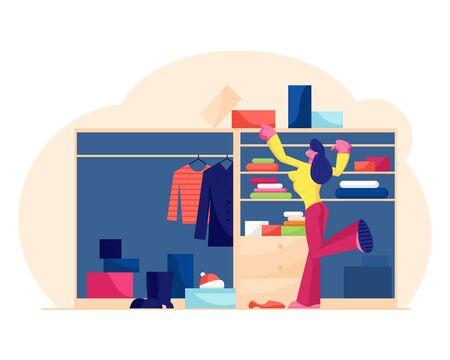 Junge Frau, die Mode-Outfit in der Umkleidekabine oder im Hauptschrank wählt. Mädchen im begehbaren, organisierten Kleiderschrank im Schlafzimmer Entscheiden Sie, welches Kleid oder welche Schuhe Sie für die flache Vektorillustration des Ausgehens wählen möchten Vektorgrafik