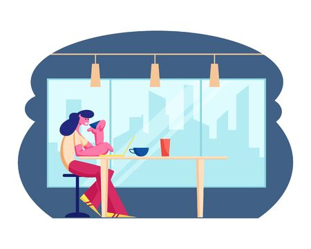 Young Woman Working on Laptop in Modern Restaurant Drinking Beverage. Female Character Visiting Cafe. Girl Sitting at Table in Cafeteria Interior. Hospitality Concept Cartoon Flat Vector Illustration