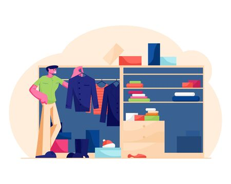 Young Handsome Man Stand at Home Wardrobe Looking at Hanging Clothes Deciding what Shirt to Choose for Wear at Work in Morning. Household Organize System for Clothing Cartoon Flat Vector Illustration Иллюстрация