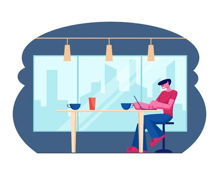 Young Male Freelancer Sitting Front Open Laptop Computer in Natural Food Cafe, Handsome Man Reading Text Message During Work on Net-book in Comfortable Coffee Shop Cartoon Flat Vector Illustration Illustration