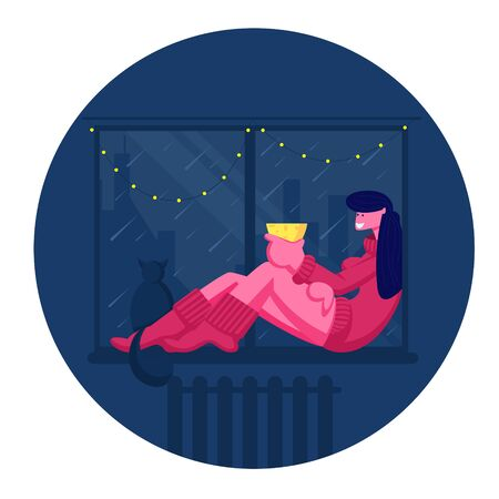 Young Woman Sitting on Windowsill with Cat Drinking Beverage and Looking through Window Decorated with Christmas Lights Garland on Rainy Weather Outside at Night Time. Cartoon Flat Vector Illustration