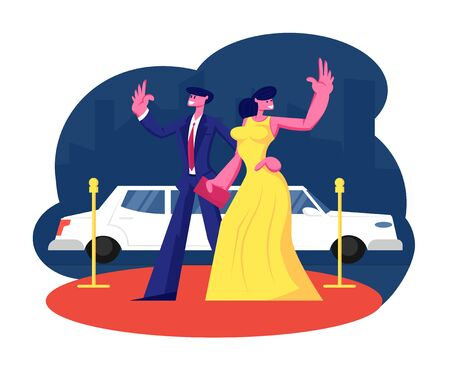 Young Famous Couple on Red Carpet Stand at Limousine Waving Hands. Woman in Dress and Man in Suit Actors Characters on Award Ceremony. Luxury Celebrity Lifestyle. Cartoon Flat Vector Illustration