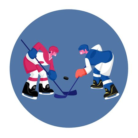 Couple of Young Men in Sports Uniform with Sticks Practicing Hockey Game. Players Stand Face to Face on Ice Rink. Male Characters Take Part in Competition Tournament. Cartoon Flat Vector Illustration Illusztráció