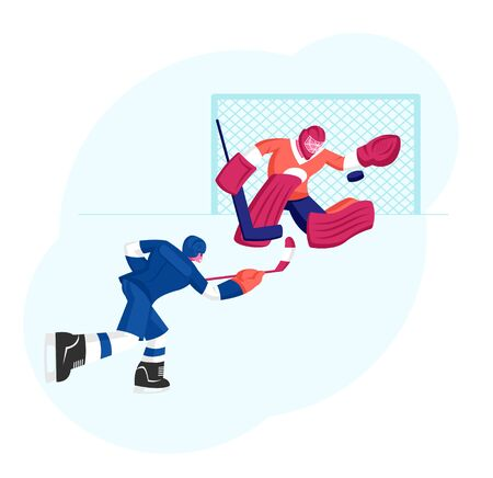 Hockey Game Competition on Ice Rink. Attacking Player Hitting Puck, Goalkeeper Catching it Protecting Gates. Sports Tournament Championship, Sportsmen Play on Stadium. Cartoon Flat Vector Illustration
