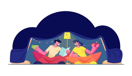 Family Time. Happy Loving Couple Having Fun Sitting in Dark Room at Home in Childrens Homemade Tent Reading Book and Drinking Beverage. Romantic Cozy Evening Sparetime Cartoon Flat Vector Illustration 向量圖像