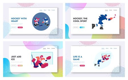 Hockey Tournament Website Landing Page Set. Young Sportsmen in Team Uniform Skating and Playing Hockey Game on Ice Rink. Competition Sport Life Web Page Banner. Cartoon Flat Vector Illustration