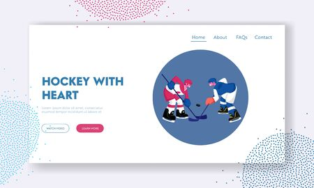 Hockey Competition Website Landing Page. Couple of Young Men in Sports Uniform with Sticks Stand Face to Face on Ice Rink Take Part in Tournament Web Page Banner. Cartoon Flat Vector Illustration