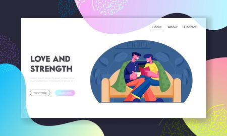 Weekend Evening Website Landing Page. Couple Spend Time at Home Sitting on Couch under Plaid Reading Book and Drinking Beverage. Love Leisure Day Off. Web Page Banner. Cartoon Flat Vector Illustration 写真素材 - 129827286