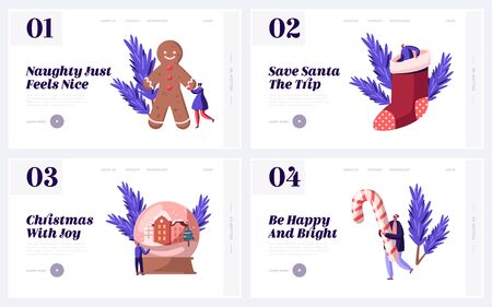 Festive Winter Season Holidays Website Landing Page Set. People and Christmas Traditional Symbols Gingerbread Man, Gift Sock Candy Cane Crystal Ball Web Page Banner. Cartoon Flat Vector Illustration