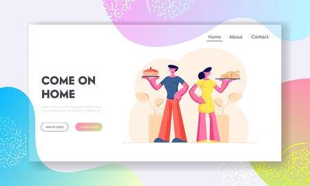 Home Food Website Landing Page. Happy Couple Holding Trays with Bakery Cake and Fried Chicken. Husband and Wife Meet Guests for Party or Family Event Web Page Banner. Cartoon Flat Vector Illustration Ilustração