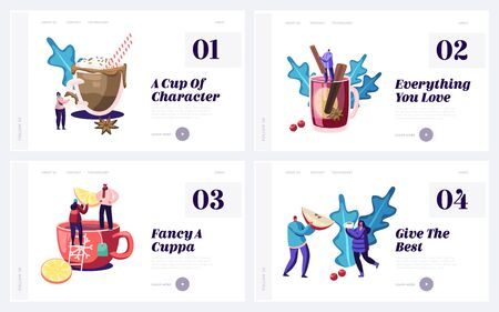 Cold Season Drinks Website Landing Page Set. Male and Female Characters Drinking Hot Beverage at Autumn or Winter Time. Cocoa Tea Mulled Wine Chocolate Web Page Banner Cartoon Flat Vector Illustration  イラスト・ベクター素材
