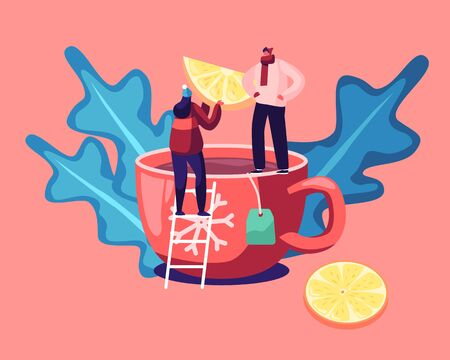 Hot Beverage for Cold Season Concept. Tiny Man and Woman Standing on Ladder Put Lemon Slice to Huge Cup with Hot Tea. Hot Drink Cooking Process. Festive Winter Time Cartoon Flat Vector Illustration