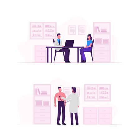 Patients at Doctor Appointment Set. Woman Sitting in front of Table at Doctors Office Having Consultation with Medical Specialist. Practitioner Listening Heart Beating Cartoon Flat Vector Illustration