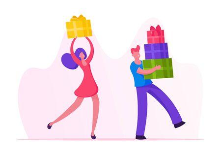 La gente feliz lleva cajas de regalo envueltas con un lazo festivo. Personajes masculinos y femeninos preparan regalos para familiares y amigos en vacaciones de invierno o celebración de cumpleaños. Ilustración de Vector plano de dibujos animados