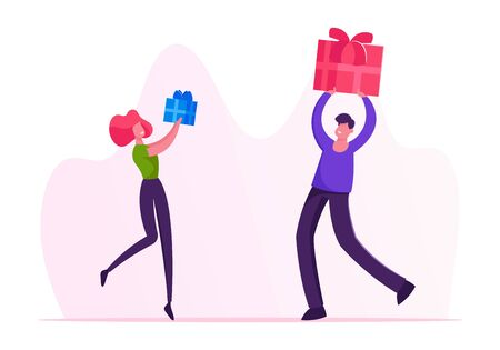 Male and Female Characters Giving Presents to Each Other on Winter Holidays or Birthday Celebration. Festive Event with Gifts. Happy Loving Couple or Friends Greetings Cartoon Flat Vector Illustration
