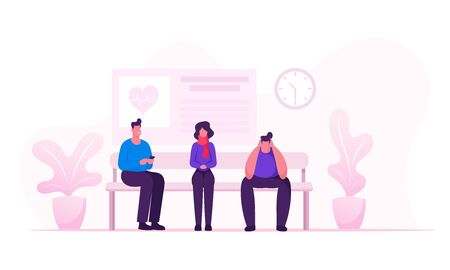 Health Care and Medicine Concept with Male and Female Patients Waiting Doctor Appointment in Hospital Hallway. Sick People Sitting in Clinic Corridor for Therapist Cartoon Flat Vector Illustration Illusztráció