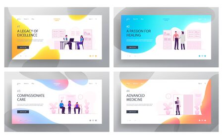 Health Care and Doctors Appointment Website Landing Page Set. Sick Patients Visiting Hospital Waiting in Clinic Hall for Practitioner Consultation Web Page Banner. Cartoon Flat Vector Illustration