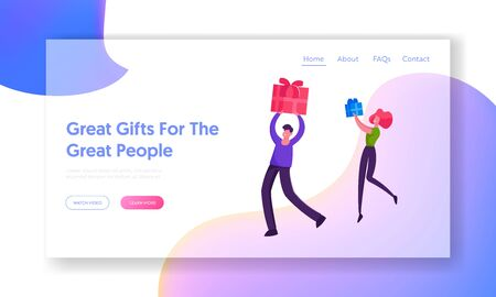 Happy Loving Couple or Friends Greetings Website Landing Page. Characters Prepare Presents on Winter Holidays or Birthday Celebration Festive Event Web Page Banner. Cartoon Flat Vector Illustration