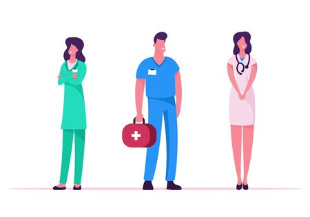 Medicine Profession, Occupation. Doctors and Nurses in Robe with Medical Tools Stand in Row Speaking and Communicating in Clinic, Hospital Healthcare Staff at Work, Cartoon Flat Vector Illustration Illusztráció