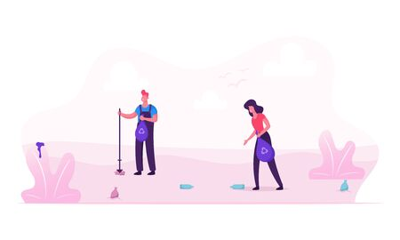 People Collecting Trash into Bags with Recycling Sign on Beach or Nature. Garbage Pollution of Seaside or Park . Volunteers Clean Up Wastes, Ecology Protection Concept Cartoon Flat Vector Illustration