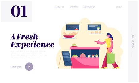 Bakehouse Production Retail Website Landing Page. Woman Stand at Showcase with Pastry Assortment in Bakery Shop. Customer Visit Store for Buying Bread Web Page Banner. Cartoon Flat Vector Illustration