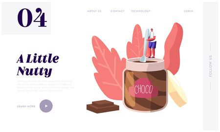 Sweets and Chocolate Dessert Lover, Sweet-Tooth Concept Website Landing Page. Tiny Male Character Holding Spoon Stand on Huge Jar Eating Choco Paste Web Page Banner. Cartoon Flat Vector Illustration Ilustração