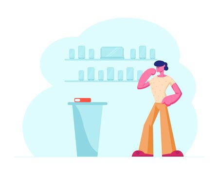 Customer Standing at Counter Desk in Electronics Shop Choosing Smartphone or Device. Man Buying New Cell Phone at Electronic Retail Store. Business, Gadgets Purchase. Cartoon Flat Vector Illustration
